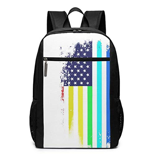 TRFashion Rucksack USA Gay Pride Flag LGBT Laptop Computer Backpack 17 Inch Large Casual Travel Daypack Laptop Bag Schoolbag Book Bag for Men Women Black - Notebook-tasche Kate Spade