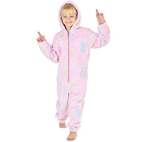 CityComfort Pyjamas eines Stückes Kinder Junge Mädchen Einhorn Hund Katze Kaninchen Dinosaur Pinguin Koala Pyjama Jungen Mädchen Onesie 2-14 Jahre (11-12 Jahre, rosa leuchtet im Dunkeln) -