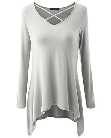 Jusfitsu Damen Oversize Pullover Shirt V Ausschnitt Asymmetrisch Langarm Bluse