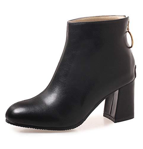 SERAPH 08-6 Damen Square Toe Blockabsatz High Heel Zipper Stiefeletten,Black,38EU - Black Square Toe Cowboy-stiefel