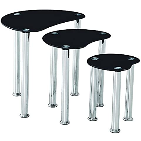 Home Discount® Cara Nest Of 3 Tables, Black Glass Modern Furniture