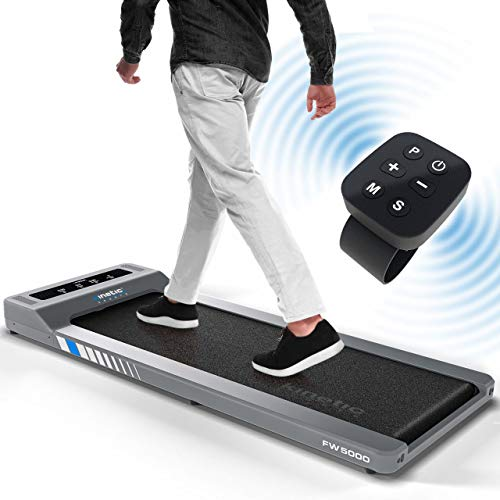 FlatWalk FW5000 Laufband für /unter Schreibtisch Desk Laufband für Büro & zu Hause - bis 120 kg belastbar, 6+1 Programme, Geh- und Lauftraining 6 km/h, Bluetooth Lautsprecher + Fernbedienung