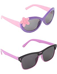 Stol'n Kids Flower And Wayfarer Sunglasses Combo Pack Of 2 Pieces Girls/Purple And Pink/Black And Pink/Gift Pack