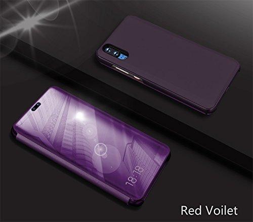 Miroir Coque pour Huawei P20 Pro,Coque de Protection en Cuir Violet Rouge pour Huawei P20 Pro.Artfeel Slim Fit Étui Antichoc en Mode avec Fonction de Support Intégrée Miroir de Maquillage Transparent voir à Travers Coquille Housse pour Huawei P20 Pro