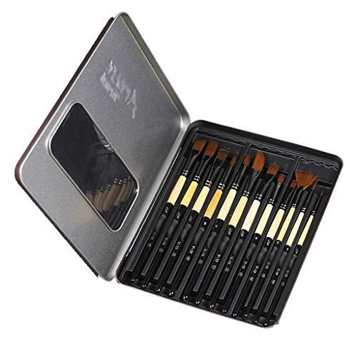 12 Pinsel Set Nylon Fächerförmiger Pen Pen Puder fällt nicht ab, Öl, Acryl und Aquarell Pen Birke langer Griff (Color : Black) (Nylon Tattoo Griffe)
