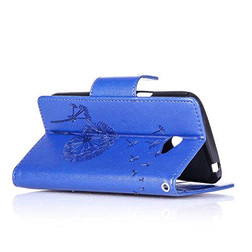 Custodia LG K5 ISAKEN Cover LG K5 con Strap, Elegante borsa Dente di leone Design in Pelle Sintetica Ecopelle PU Case Cover Protettiva Flip Portafoglio Case Cover Protezione Caso con Supporto di Stand Dente di leone : blu scuro