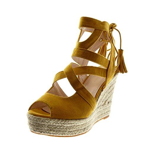 Angkorly Chaussure Mode Sandale Espadrille Peep-Toe Plateforme Femme Corde Lacets Multi-Bride Talon Compensé Plateforme 11 cm Jaune