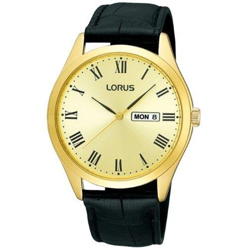 Lorus Gents Black Leather Strap Gold Tone Case Watch RJ642AX9