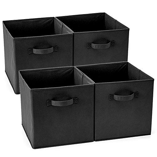 EZOWare Aufbewahrungsbox Faltbare Aufbewahrungsboxen in Würfelform, Faltbar Aufbewahrungskiste, 4er-Set, Schwarz (33 x 38 x 33 cm) -