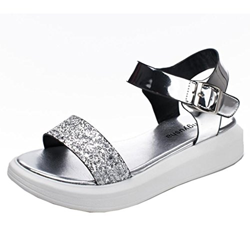 Plateau Peep Binying Schnalle Durchgängiges Silber Sandalen Damen Slingback toe XppqAw5