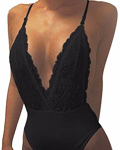 StyleDome Set Bikini Corpetto Reggiseno Bra Tuta Pizzo Scollo a V Crochet Spiaggia per Donna Nero IT 40-42