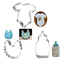 FOReverweihuajz 3 Pcs Baby Clothes,Bib,Feeding Bottle Shape Cookie Cutters,Pastry/Biscuit/Chocolate/Fondant/Cake Baking Tool -Little Kids Shower Themed - Silver