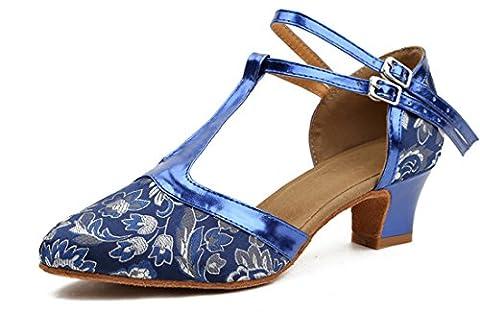 Honeystore Frauen Kunstleder Heels Absatzschuhe Blumen mit T-Riemen Tanzschuhe Blau 33 CN