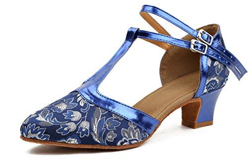 Honeystore Frauen Kunstleder Heels Absatzschuhe Blumen mit T-Riemen Tanzschuhe Blau 42 CN