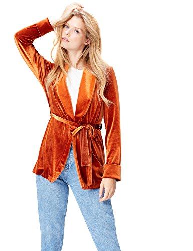 FIND Chaqueta de Terciopelo para Mujer, Naranja (Orange), 42 (Talla del Fabricante: Large)