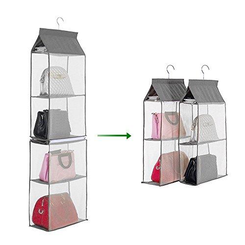 Decdeal 4-tiers non-tessuto armadio staccabile borse organizer borse pieghevole accessori di abbigliamento (1 pc)