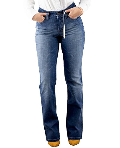 MAC Damen Jeans Jeanshosen Blue Denim Elasthan Straight Feminine Loose Fit (W36/L34, Blue Denim (melanie)) (Poly Modern Pant Fit)