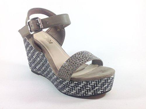 Scarpe donna sandali con zeppa in nabuk YQ09 Khaki