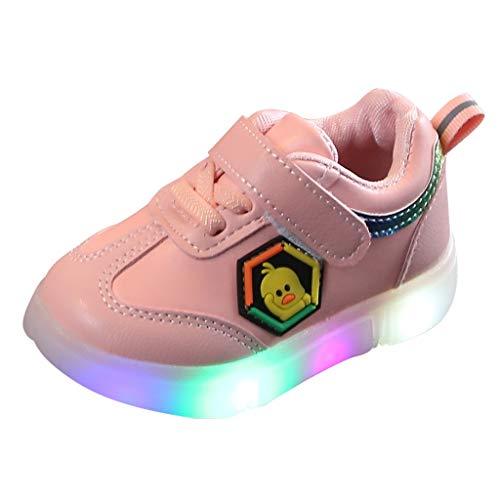 Heligen LED Schuhe Kinder Beleuchtete Freizeitschuhe Mädchen Schuhe Hell Hallo Kitty Kinder Schuhe Mit Licht Nette Baby Mädchen Stiefel (23 EU, Rosa 3) -
