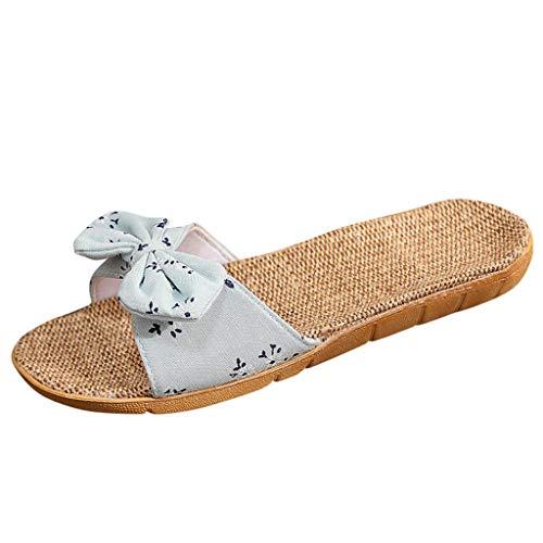 Pantoletten Schuhe Frauen Sommer Strand Hausschuhe Atmungsaktive Leinen Flip-Flops Weibliche Casual Flachs Flip Flops Slippers Sandalen Floral Bow Indoor Badeschuhe Badelatschen