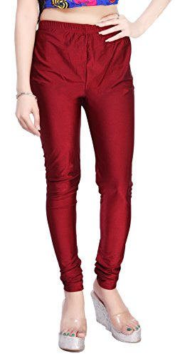 Comix Cotton Lycra Fabric Women Shiny Leggings(AGSPL-3135-VTE-LG-10-MAROON-XL)