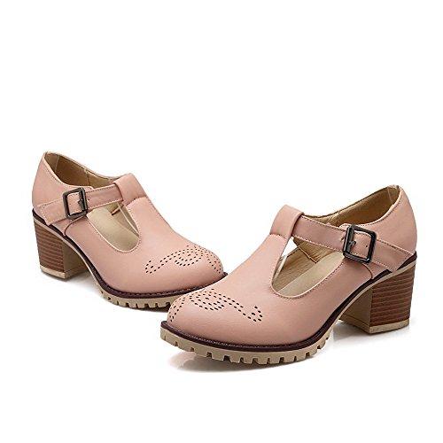 AllhqFashion Damen Weiches Material Rund Zehe Mittler Absatz Schnalle Rein Pumps Schuhe Pink