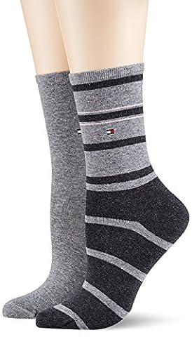 Tommy Hilfiger TH Women Accent Stripe Sock 2P, Chaussettes Femme, Grau (Middle Grey Melange 758), 35/38 (lot de 2)