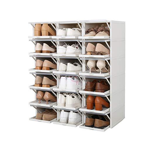 ZINNZ SELECTED Schuhbox,stapelbarer Schuhorganizer, Kunststoffbox mit durchsichtiger Tür, Schuhaufbewahrung, einfache Montage, Schiebemechanismus (18 Boxen) -