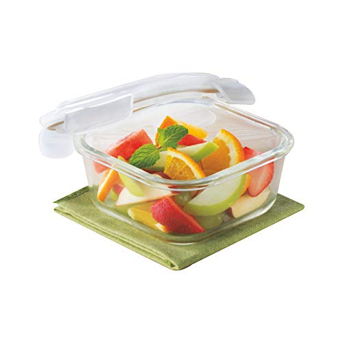 Borosil Klip N Store Glass Food Container, 320 Ml Square, for Kitchen Storage with Air Tight Lid - Microwave Safe