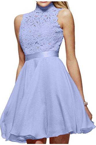 Milano Bride Damen Liebling Stehkragen Spitze Promkleider Abendkleider Heimkehr Kleider Chiffon A-Linie Kurz Ballkleider-38-Lavendel (Lavendel-kleid-schuhe)