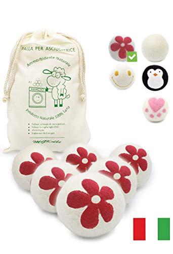 Mgkolbe® palline per asciugatrice, palle di lana, profumatore a oli essenziali,ammorbidente naturale, ipoallergenico, profumo essenza di bucato, antipiega, cattura peli, 6 palle bianche con fiore