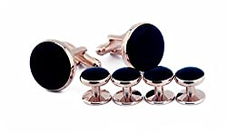DeePerfetto tuxedo cufflinks and studs - rose gold plated with black enamal disc