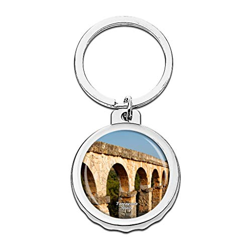 Hqiyaols Keychain Spanien Römisches Aquädukt Tarragona Cap Flaschenöffner Schlüsselbund Creative Kristall Rostfreier Stahl Schlüsselbund Reisen Andenken -