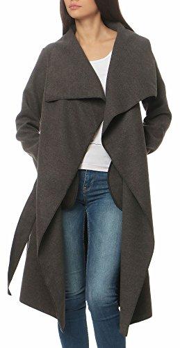 Malito Damen Mantel lang mit Wasserfall-Schnitt | Trenchcoat mit Gürtel | weicher Dufflecoat | Parka - Jacke 3040 (dunkelgrau) Lange Trenchcoat