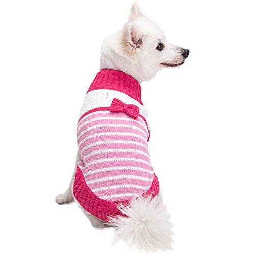 Blueberry Pet Pinkes Prinzesschen Designer Chenille Hundepulli mit Schleifen-Deko, Rückenlänge 51cm, Einzelpackung Bekleidung für Hunde