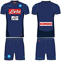 KAPPA NAPOLI 17/18 SOCCER KIT KOMBAT REGULAR FIT - JUNIOR BIMBO BAMBINO KIDS KID KINDER JR - BLU NOTTE (YM - 8 anni - 8Y)