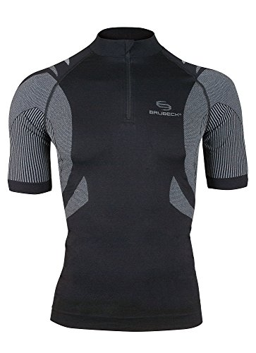 BRUBECK® SS10410 BICYCLE Fahrradtrikot   Funktional   Radtrikot   Radshirt   Trikot   Bike   Shirt   Kurzarm   Taschen   Reflektoren, Größe:S;Farbe:schwarz - Resistent S/s Shirt