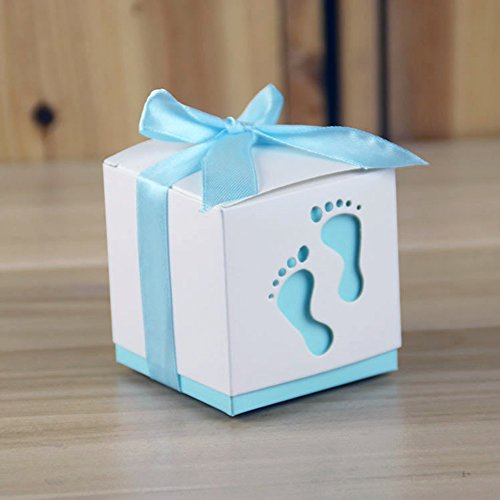 Rzctukltd 10pcs Pierced Laser Cut Baby Foot Gift Candy Boxes Favour Baby  Shower (Blue)
