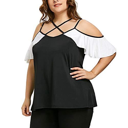 TITIU Damen Plus Size abgestufte Spitze Appliques kalte Schulter mit V-Ausschnitt T-Shirt Tops Oberteil Bluse (Plus Size Kimono Kostüme)