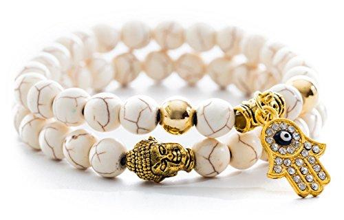 Gems Of Peace–Charm Armband antik weiß und gold Buddha Hamsa (Infinity-armband Yoga)