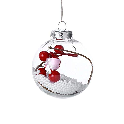 ODJOY-FAN Weihnachten Dekor Ball Dekoration Anhänger 8 cm Innere Ball Weihnachtenbaum Anhänger Hängend Zuhause Ornament Dekoration Ball 8×8×8cm(C,1 PC)