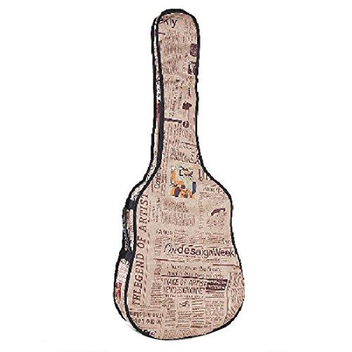 Qualitäts Retro Zeitungsstil 420D Oxford Folk Gitarren Tasche Schutzhülle für 41 42 Zoll Gitarre