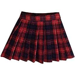 Gazechimp 1/6 Escala Mini Vestido de Falda a Cuadros para 12 Pulgada Acción Femenina Cuerpo - Plaid rojo