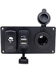 TurnRaise 1 Gang Rocker Switch Panel & 12V Cigarette Socket y Puertos USB Doble para 12v / 24v Coche Barco Yate,Indicador LED azul