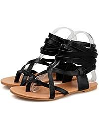Fluores Sandali gladiatore donna tinta unita sandali piatti scarpe estive sandali  sexy alti al ginocchio stivali 973a070888d