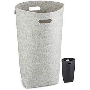 Elwin Neiles® - 80L/grau - Designer Wäschekorb aus stylischem Filz - Faltbarer Wäschesammler mit ergonomischen Griffen & Sichtschutz - Wäschetonne