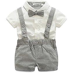 E.life Traje de bebé niño 2pcs caballero camiseta Top tirantes Strap Shorts Bowtie formal de niños traje de fiesta ropa conjuntos (Gris, 90:12-18m)