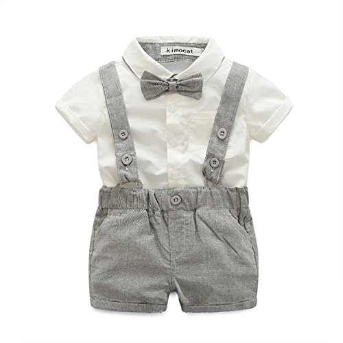 E.life Baby Jungen 2Pcs Gentleman Bowtie Hemd Top Hosenträger Strap Shorts Formal Kinder Party Outfit Kleidung Sets (80cm :6-12m, grey)