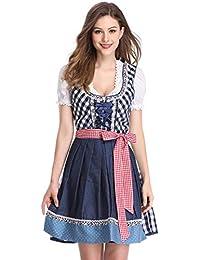 KUULEE Damen Dirndl 3tlg.Set - Mini Trachtenkleid für Oktoberfest - Originelles Design Stickerei Dots Karo und Blumendruck
