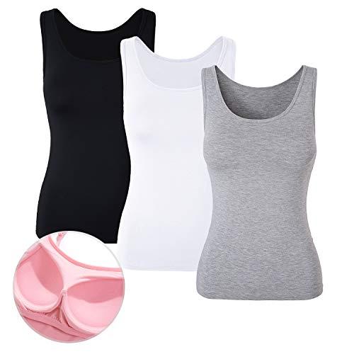 Gepolsterte Bh-hemdchen (DYLH Damen BH-Hemd Unterhemd Basic Tank Tops 3er Pack Mix A Medium)